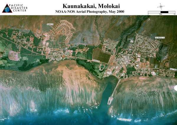 Карта столицы Молокаи-Каунакакаи